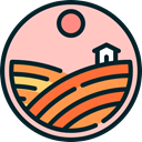 Country, Farm, rural, hills, house, nature, Fields Pink icon