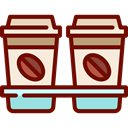 Take Away, Paper Cup, Coffee, food, hot drink, Coffee Shop Maroon icon