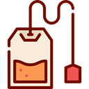 Relaxing, Tea Bag, food, infusion, hot drink, herbs Maroon icon