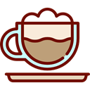 Coffee, food, coffee cup, hot drink, cappuccino, Coffee Shop Maroon icon
