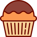 Bakery, cake, food, muffin, Dessert Maroon icon