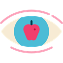 Apple, Eye, education, optical, Observation, vision Black icon