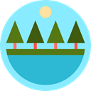 rural, pines, lake, Peaks, nature, landscape, trees LightSkyBlue icon