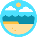 sun, nature, landscape, Beach Turquoise icon