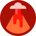 nature, danger, Disaster, natural, volcano, Erupting, Eruption Firebrick icon