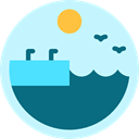 Dock, nature, sea, landscape, lake, pier, Quay PaleTurquoise icon