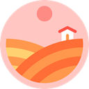 house, nature, Fields, Country, Farm, rural, hills Pink icon