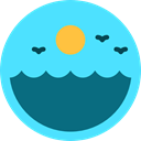 sun, nature, sea, landscape, waves Turquoise icon