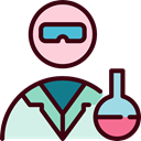 people, flask, Chemicals, lab, chemical, laboratory, scientist, Goggles, Lab Technician Black icon