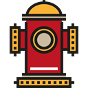 Protection, water, buildings, firefighter, fire hydrant, Architecture And City Black icon
