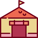 buildings, Tent, Fun, carnival, entertainment, Fairground Maroon icon