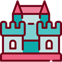 Castle, fortress, buildings, Monument, medieval, Monuments Maroon icon