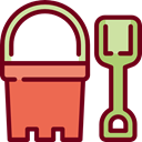 miscellaneous, gaming, Bucket, Beach, childhood, shovel, leisure, Tools And Utensils, Summertime, Sand Bucket Maroon icon