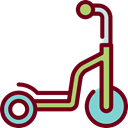 Fun, childhood, Scooter, transportation, transport Black icon