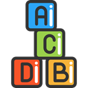 entertainment, Educative, Kid And Baby, toys, Abc, gaming, education, Alphabet, cube, Cubes, baby DarkSlateGray icon