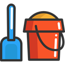 childhood, shovel, leisure, Beach, Kid And Baby, Tools And Utensils, Summertime, Sand Bucket DarkSlateGray icon