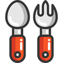 Fork, Restaurant, spoon, Cutlery, Tools And Utensils, Food And Restaurant DarkSlateGray icon