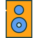 music, sound, speaker, Audio, loudspeaker, technology, electronics, speakers, subwoofer, music speaker, woofer, Furniture And Household Orange icon