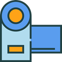 digital camera, camcorder, technology, electronics, domestic, video camera CornflowerBlue icon