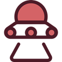 Ufo, spaceship, transportation, Alien, transport, extraterrestrial, Science Fiction Maroon icon