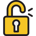 Lock, secure, Tools And Utensils, Open Padlock, security, padlock, Unlocked Goldenrod icon