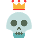 people, crown, skull, vintage, hipster, tattoo, Old School PowderBlue icon
