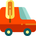 transport, vehicle, Commercial, Automobile, Ice Cream Van OrangeRed icon