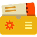 Ticket, travel, flight, airplane, Air, tickets Goldenrod icon