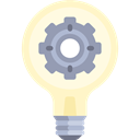 Light bulb, Gear, Idea, illumination, technology, cogwheel, invention, Seo And Web Black icon