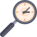 Clock, magnifying glass, Loupe, Tools And Utensils, Seo And Web Black icon