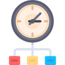 time, scheme, distribution, Seo And Web, Clock, network Black icon