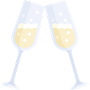 Glasses, Food And Restaurant, Birthday And Party, party, Alcohol, food, toast, champagne, Celebration, Champagne Glass, Alcoholic Drinks Black icon