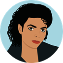 user, Avatar, Musician, singer, celebrity, Michael Jackson LightBlue icon