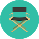 furniture, entertainment, outline, Chairs, Furniture And Household, tool, Director, Seat, Chair, cinema LightSeaGreen icon