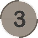counting, entertainment, Countdown, cinema, numbers, count, three Gray icon