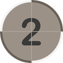 numbers, two, count, counting, cinema, entertainment, Countdown Gray icon