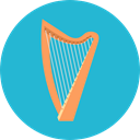 Music And Multimedia, music, Harp, musical instrument, Orchestra, String Instrument LightSeaGreen icon