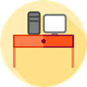 Furniture And Household, office, table, studio, Chair, desk, furniture Khaki icon