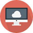 Computer, monitor, screen, Cloud computing IndianRed icon