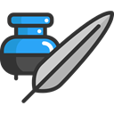 tool, Inkwell, education, writing, quill, Calligraphy DarkSlateGray icon