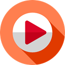 music player, ui, Play button, video player, movie, Multimedia, Arrows, play, interface, Multimedia Option Coral icon