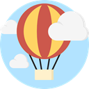 transportation, travel, transport, flight, Air balloon, hot air balloon PaleTurquoise icon