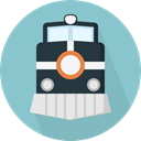 transportation, travel, transport, street, train, rails, travelling SkyBlue icon