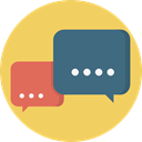 Multimedia, Chat, Communication, speech bubble, Conversation, Communications SandyBrown icon