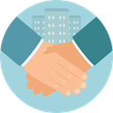 Business, Agreement, Handshake, Gestures, Shake Hands, Cooperation, Hands And Gestures LightBlue icon