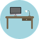 office, table, studio, Chair, desk, furniture, Furniture And Household LightBlue icon