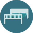 hotel, Sleepy, Hostel, Bed, Sleeping, Furniture And Household SeaGreen icon