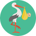 bird, baby, Animals, Stork, newborn, Birth, Kid And Baby CadetBlue icon
