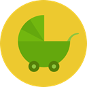 transportation, transport, Toy, doll, childhood, Motherhood, Baby Stroller, Kid And Baby Goldenrod icon