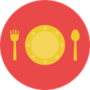 Fork, Knife, Plate, Restaurant, Dish, Cutlery, Tools And Utensils, Food And Restaurant Tomato icon